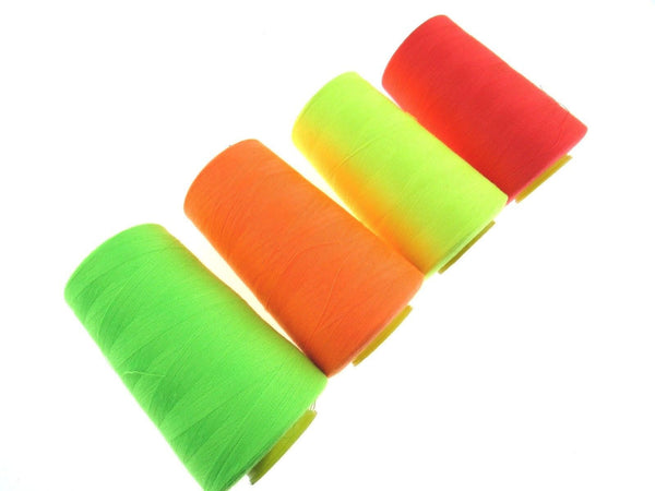 ** 4 x 5000 Yard Fluorescent Polyester Sewing Thread - Over Locking Thread - ThreadandTrimmings