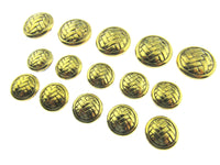 A Set of Gold Herringbone Weave Plastic Blazer Shank Buttons - ThreadandTrimmings