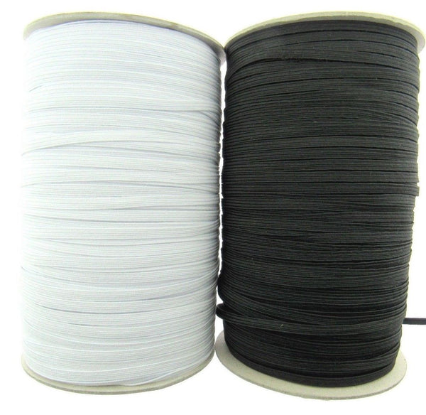 4 CORD ELASTIC  - BLACK or WHITE (3mm Wide Approx) - ThreadandTrimmings