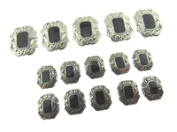 A Set of Art Deco Style Black & Antique Silver Plastic Shank Buttons - ThreadandTrimmings