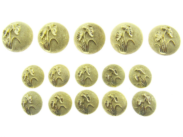 A Set of Ladies Gold Plastic Shank Buttons With Flower - ThreadandTrimmings