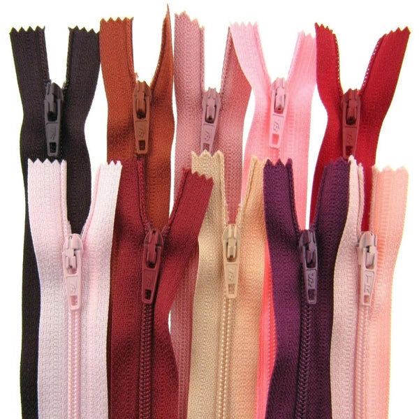 10 x Autolock No 3 Nylon Closed End Zips - RED / PINK Sample Mix - ThreadandTrimmings