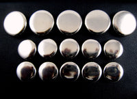 A Set of Plain Polished Metal Silver Blazer Buttons - ThreadandTrimmings