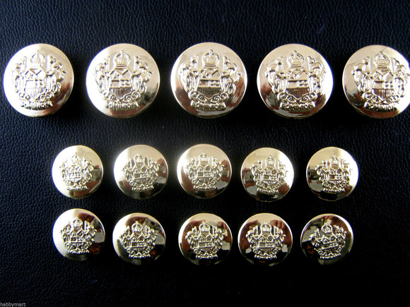 A Set of Gold Plastic Crested Blazer Buttons