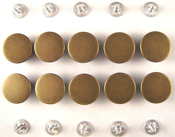 17mm Plain Antique Brass Five Star Jean Buttons (F)