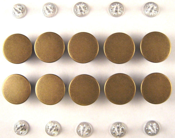17mm Plain Antique Brass Five Star Jean Buttons (F) - ThreadandTrimmings