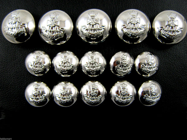 A SET of POLISHED SILVER GREEN HOWARD BLAZER DOMED PLASTIC SHANK BUTTONS B108 - ThreadandTrimmings