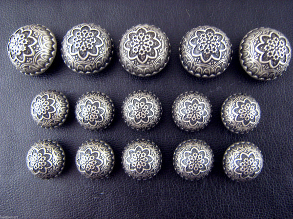 A Set of Antique Silver Colour Metal Crested Dome Buttons - ThreadandTrimmings
