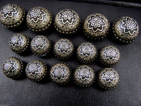 A Set of Antique Bronze Colour Metal Crested Dome Buttons - ThreadandTrimmings