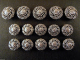 A Set of Antique Silver Swurly Coat Buttons - Turks Head - ThreadandTrimmings