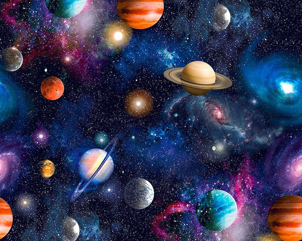 "** UNIVERSE DIGITALLY PRINTED 100% COTTON FABRIC by LITTLE JOHNNY 59"" WIDE"