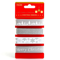 Christmas Ribbon by Italian Options - (4 Designs x 2m Lengths) - ThreadandTrimmings