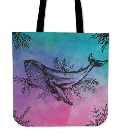 Flower Whale - Tote Bag - the ocean vibe Ocean Apparel