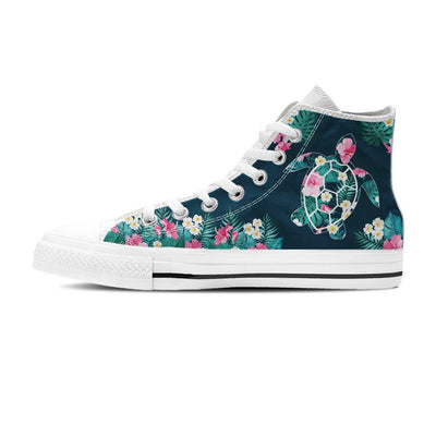 Flower Sea Turtle - Women's High Top - the ocean vibe Ocean Apparel