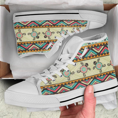 Ethnic Colorful Sea turtle - Women's High Top - the ocean vibe Ocean Apparel