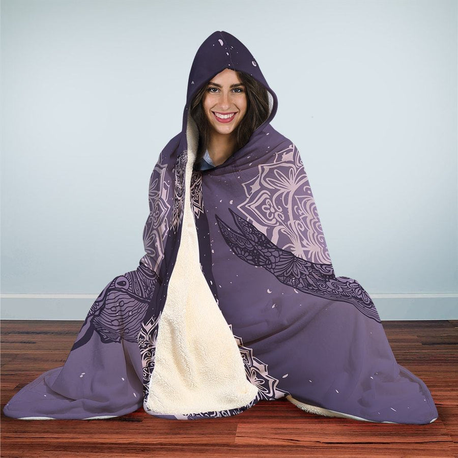 Mandala Purple Whale - Hooded Blanket - the ocean vibe Ocean Apparel