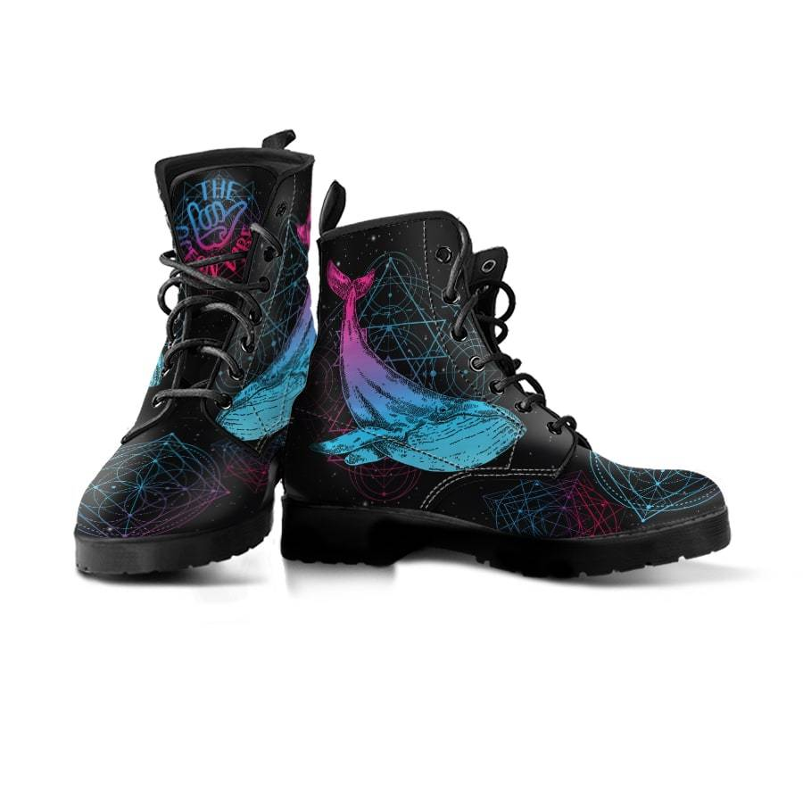 Sadred Geometry Whale - Women's Boots - the ocean vibe Ocean Apparel