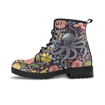 Flower Octopus - Women's Boots - the ocean vibe Ocean Apparel