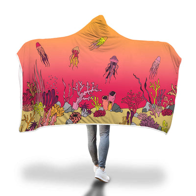 Coral Reef & Jellyfish - Hooded Blanket