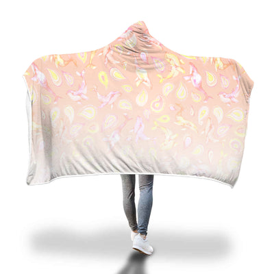 The Peach Paisley Whale - Hooded Blanket