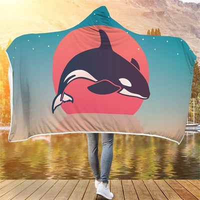 Orca Sunset - Hooded Blanket - the ocean vibe Ocean Apparel