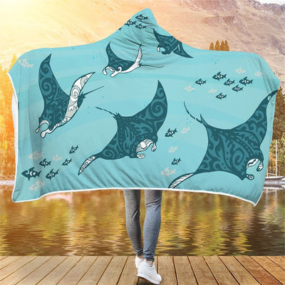 Swimming Manta Ray - Hooded Blanket - the ocean vibe Ocean Apparel