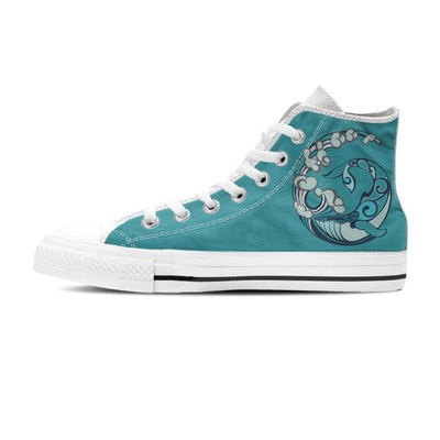 Whale In Wave - Women's High Top - the ocean vibe Ocean Apparel