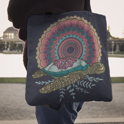 Mandala Sea Turtle - Tote Bag - the ocean vibe Ocean Apparel