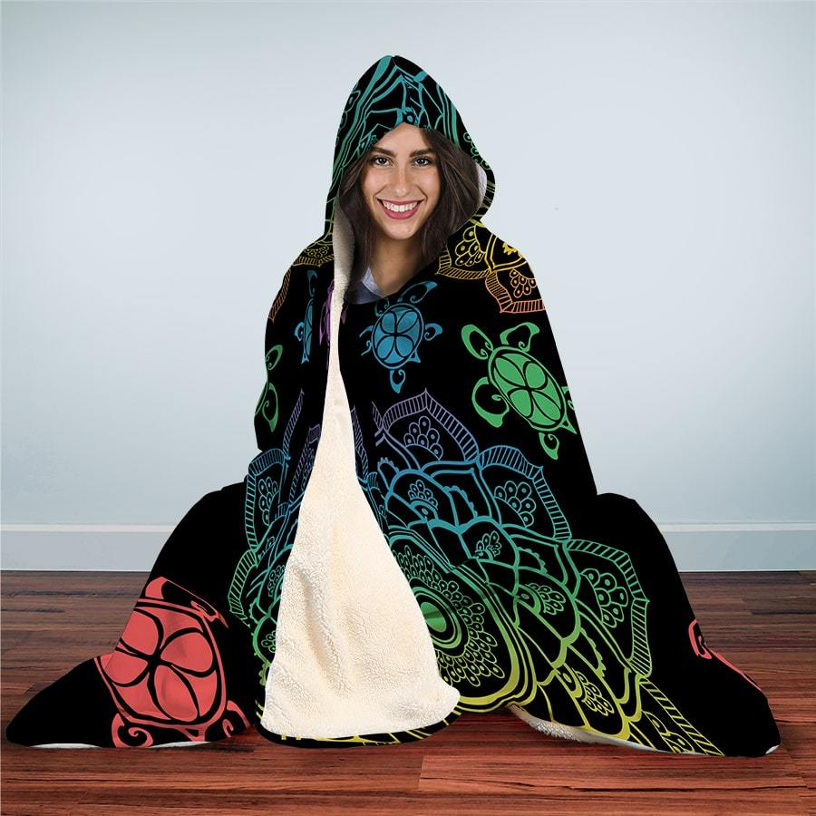 Sea Turtle Trip Colorful - Hooded Blanket - the ocean vibe Ocean Apparel