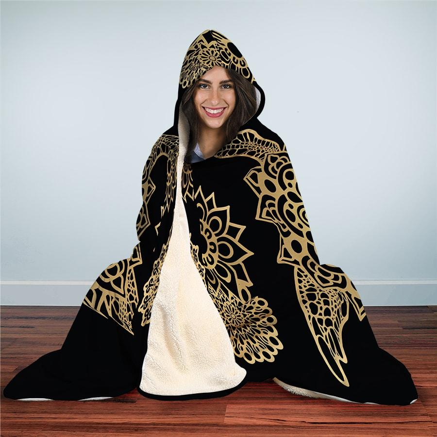 Golden Sea Turtle - Hooded Blanket - the ocean vibe Ocean Apparel