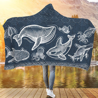 Awesome Marine Animals - Hooded Blanket - the ocean vibe Ocean Apparel