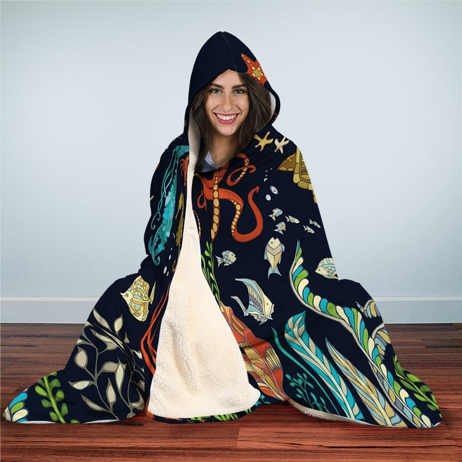 Set Sea Life - Hooded Blanket - the ocean vibe Ocean Apparel
