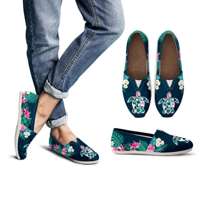 Flower Sea Turtle - Women's Casual Shoes - the ocean vibe Ocean Apparel