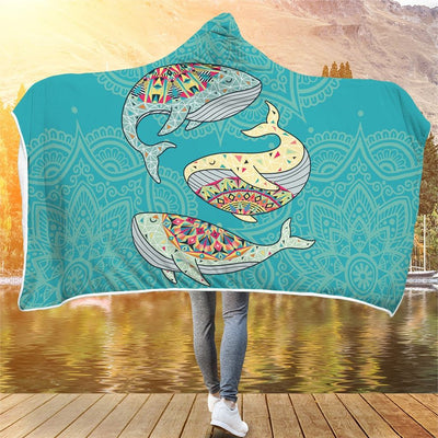 Dancing Whales - Hooded Blanket - the ocean vibe Ocean Apparel