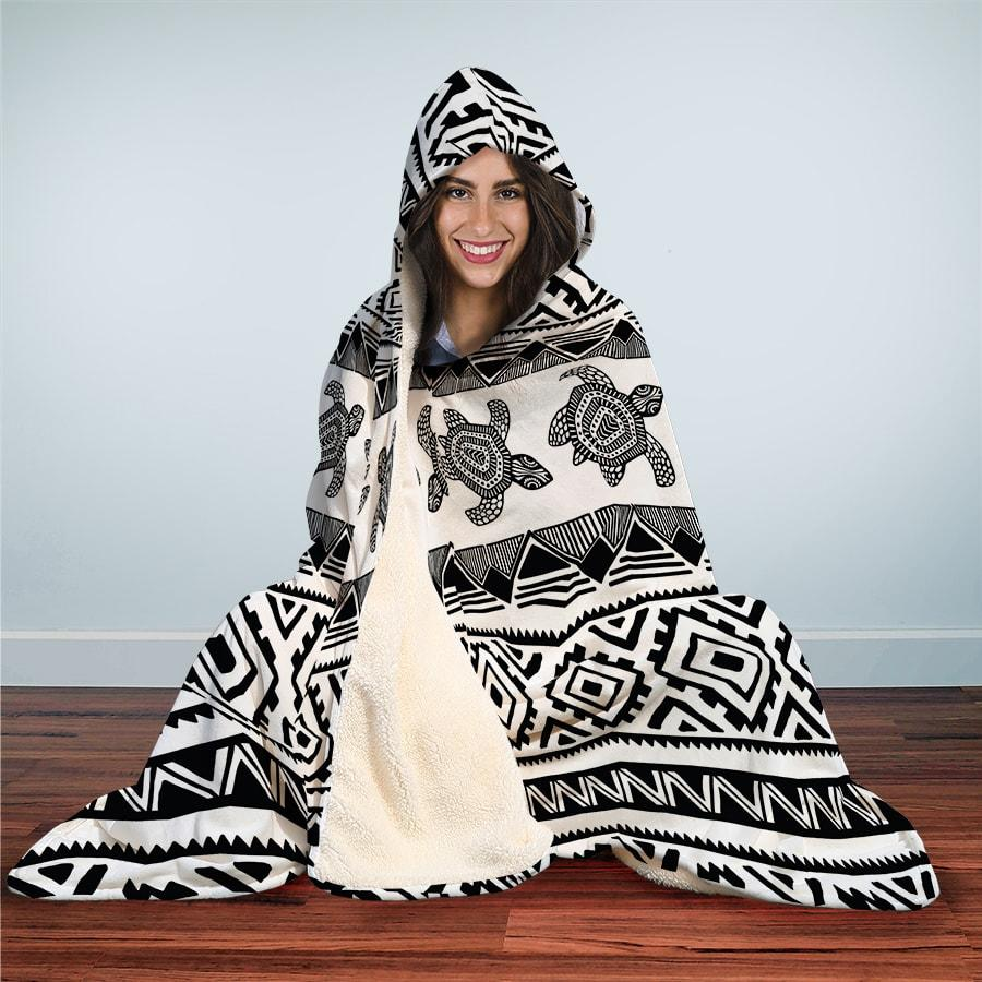 Ethnic Sea Turtle - Hooded Blanket - the ocean vibe Ocean Apparel