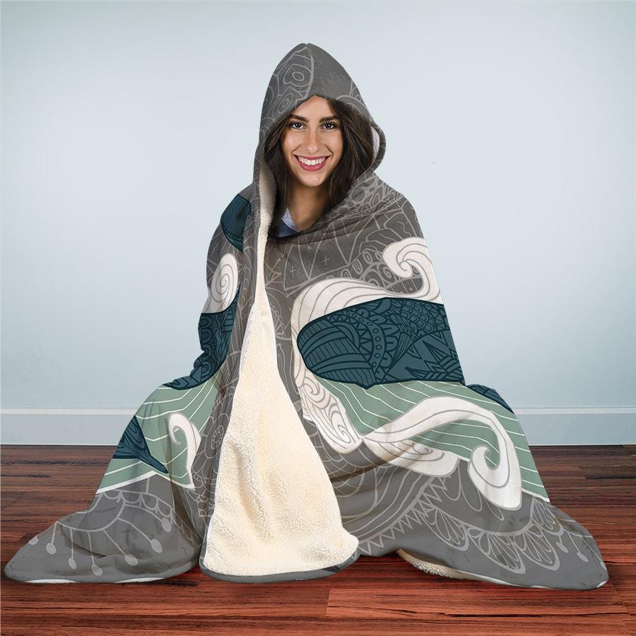 Grey Whale - Hooded Blanket - the ocean vibe Ocean Apparel