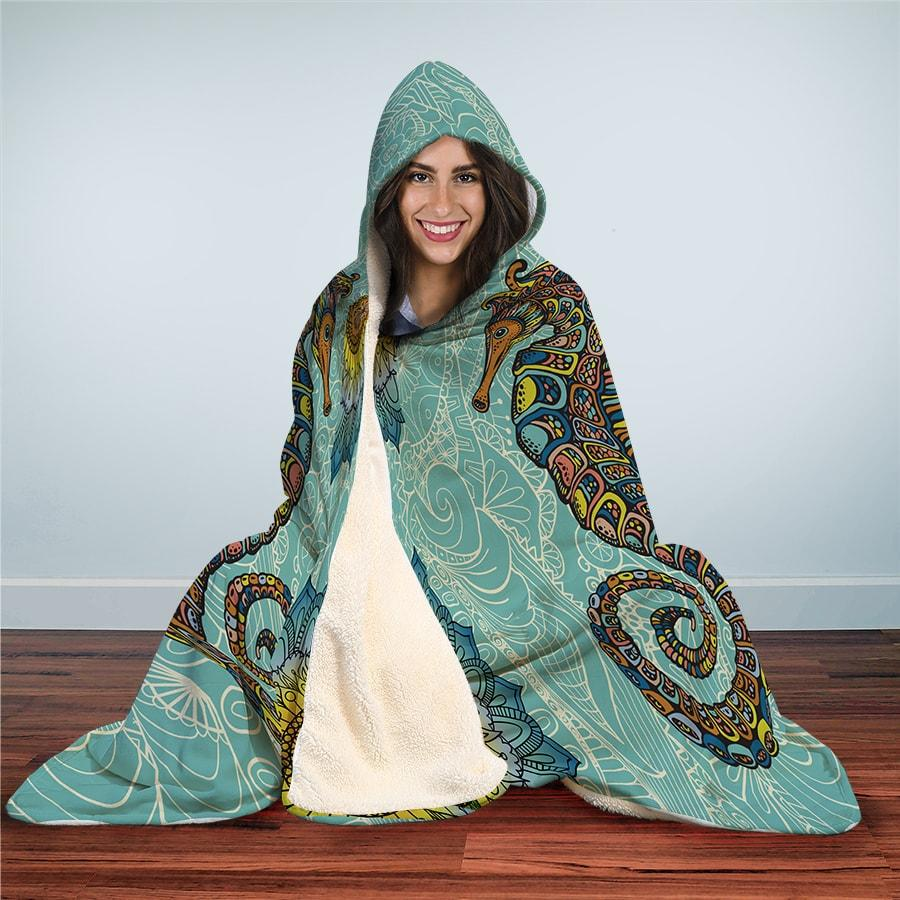 Seahorse Zentangle - Hooded Blanket - the ocean vibe Ocean Apparel