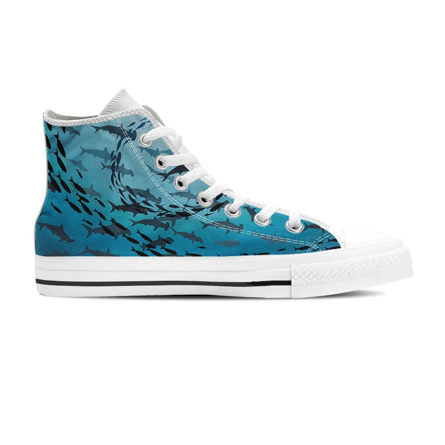 Hammerhead Sharks - Women's High Top - the ocean vibe Ocean Apparel