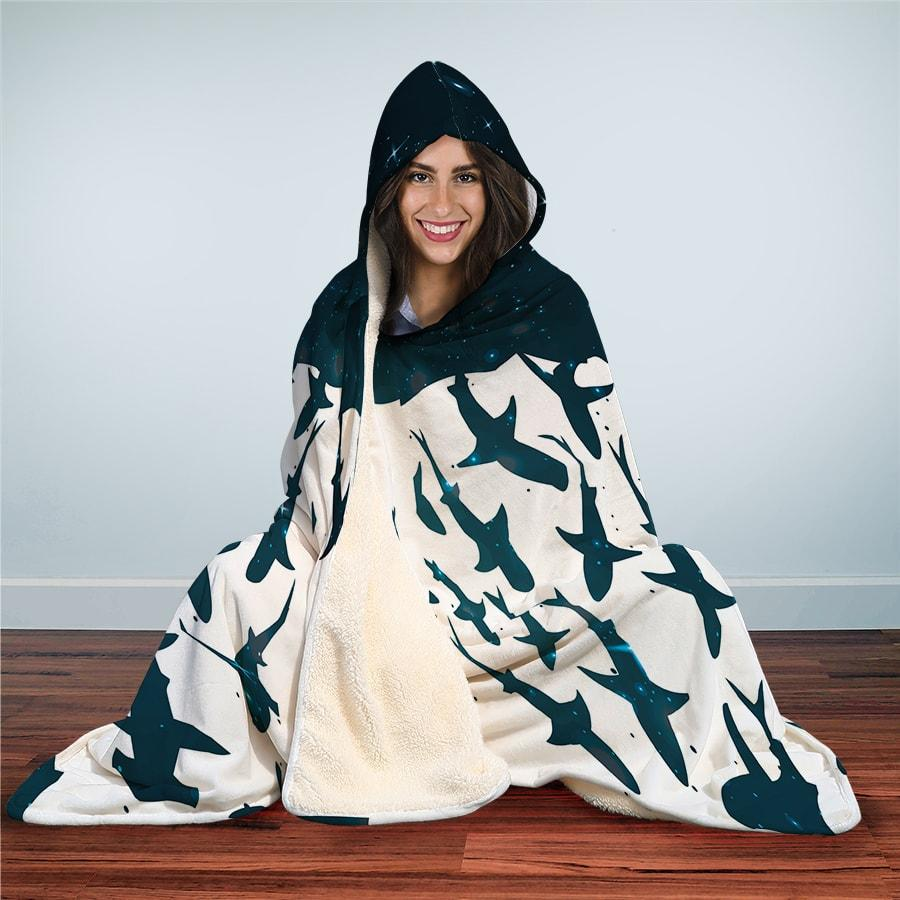 Shark School - Hooded Blanket - the ocean vibe Ocean Apparel