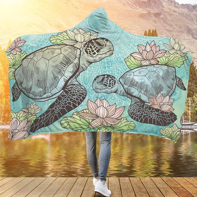 Lotus Sea Turtle - Hooded Blanket - the ocean vibe Ocean Apparel