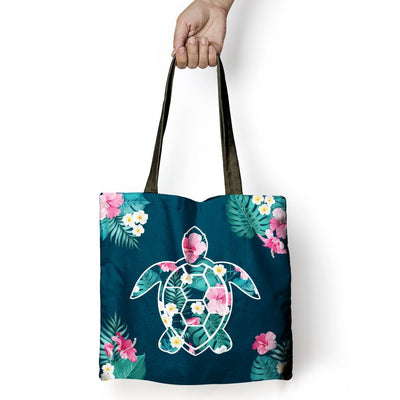 Flower Sea Turtle - Tote Bag - the ocean vibe Ocean Apparel