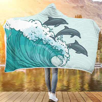 Dolphins In The Wave - Hooded Blanket - the ocean vibe Ocean Apparel