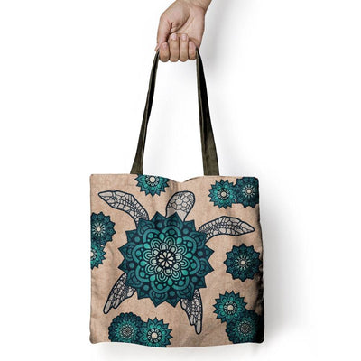 Mandala Shell Sea Turtle - Tote Bag - the ocean vibe Ocean Apparel
