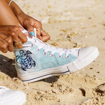 Sky Sea Turtle - Women's High Top - the ocean vibe Ocean Apparel