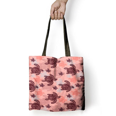Peach Sea Turtle - Tote Bag - the ocean vibe Ocean Apparel
