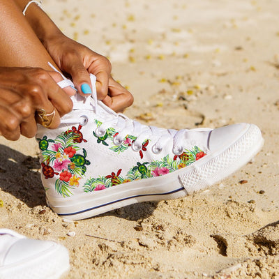 Pop Sea Turtle - Women's High Top - the ocean vibe Ocean Apparel