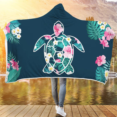 Flower Sea Turtle - Hooded Blanket - the ocean vibe Ocean Apparel