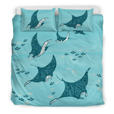Swimming Manta Ray - Bedding Set - the ocean vibe Ocean Apparel