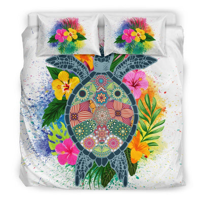 Hippie Sea Turtle - Bedding Set - the ocean vibe Ocean Apparel