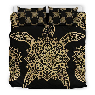 Golden Sea Turtle - Bedding Set - the ocean vibe Ocean Apparel